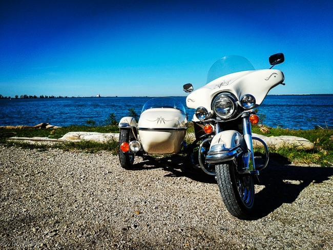 A ride to the beach, '73 Harley-Davidson FLH Sidecar, Fairport Harbor