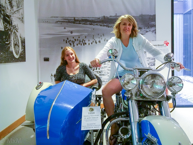 What- No Gear??? PrettyWife and DaringDaughter hamming on the sidecar, AMA Motorcycle Hall of Fame